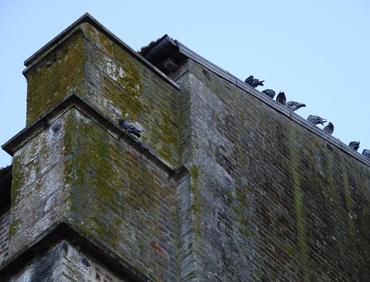 murs détériorés de l'église